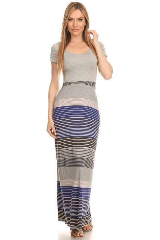 Made in USA Women's Striped Back Cutout Maxi Dress Front View