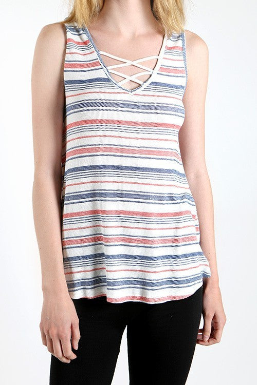 Made in USA Women's Crisscross Tank Top Front View