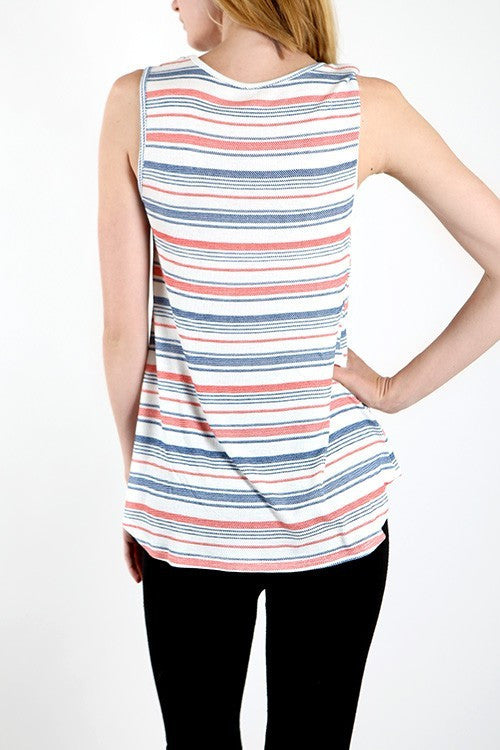 Made in USA Women's Crisscross Tank Top Back View