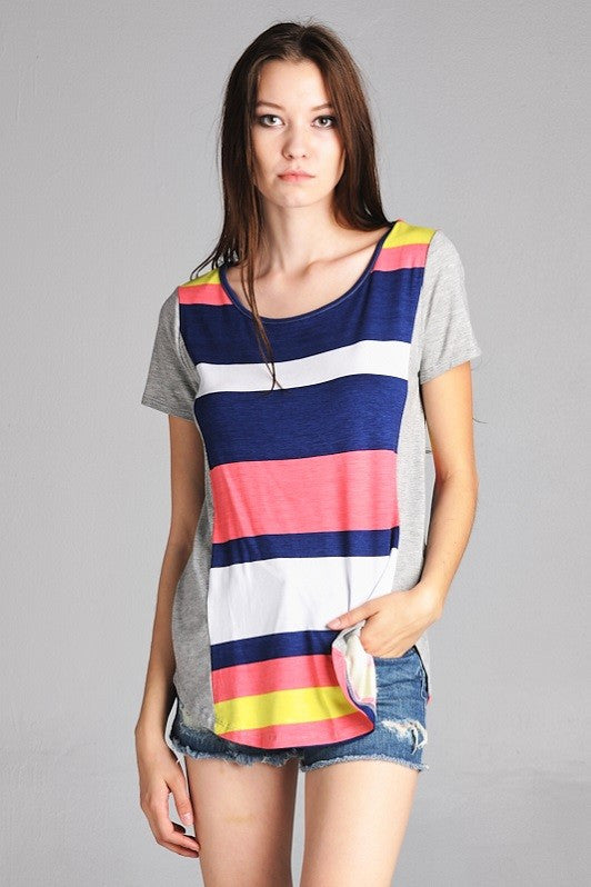 American Made Women's Tee in Bright Stripes Front View