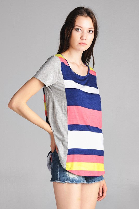 American Made Women's Tee in Bright Stripes Side View