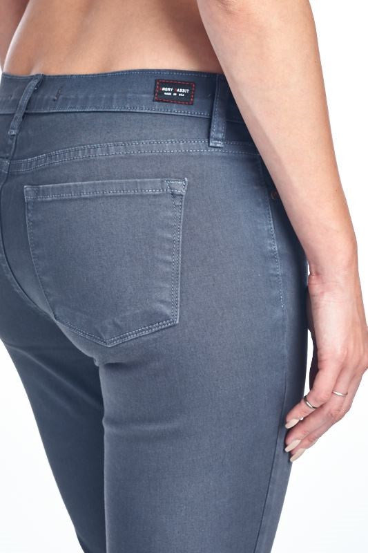 American Made Women's Grey Skinny Jeans from Angry Rabbit Closeup