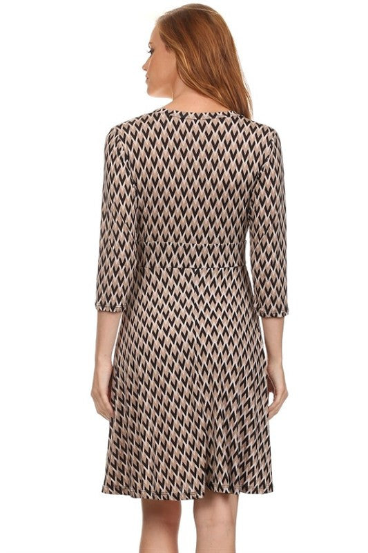 American made women's taupe chevron print faux wrap dress back