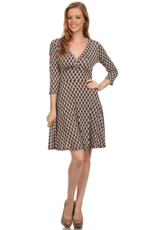 American made women's taupe chevron print faux wrap dress front