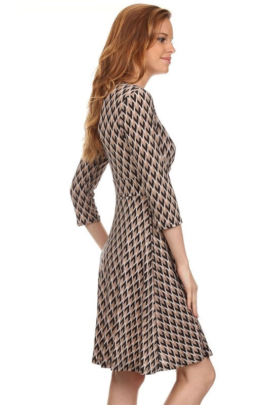 American made women's taupe chevron print faux wrap dress side
