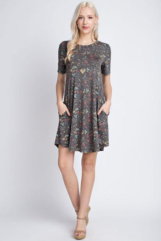 American Made Women's Gray Floral Swing Dress Front