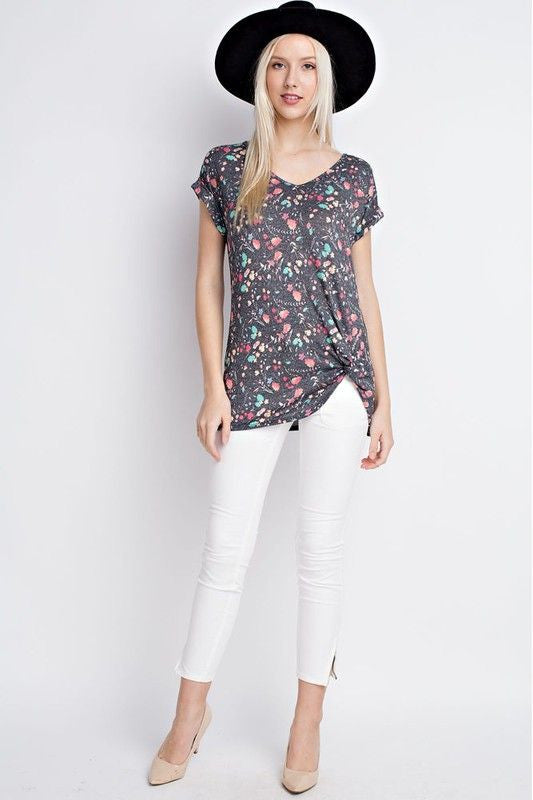 American Made Women's Gray Floral Twist Tee Front