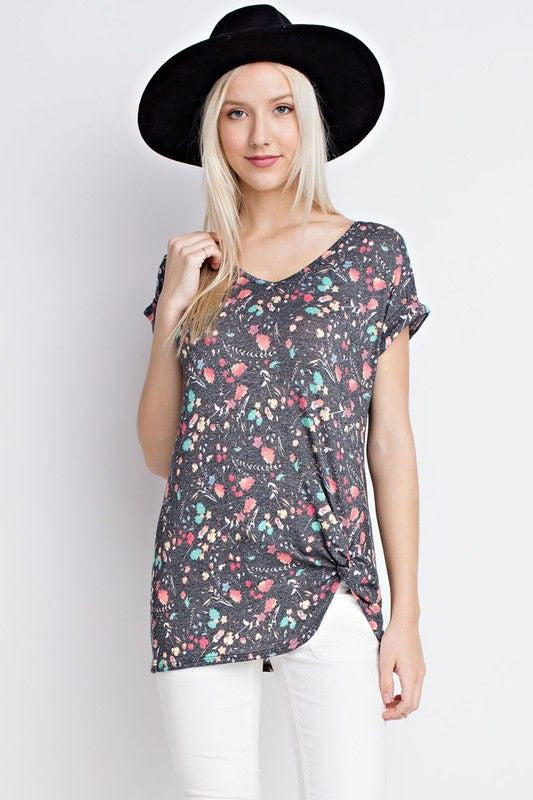 American Made Women's Gray Floral Twist Tee Closeup