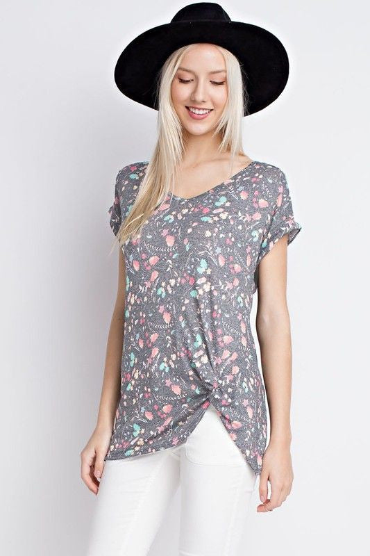 American Made Women's Heather Gray Floral Twist Tee Front