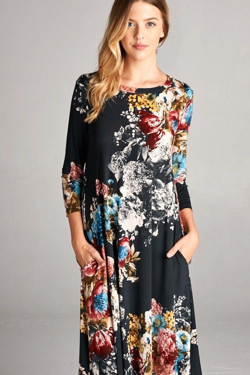 American Made Women's Floral Grey Swing Dress With Pockets