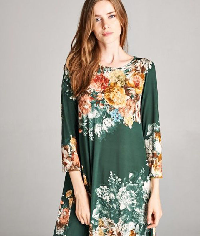 American Made Women's Floral Green Swing Dress With Pockets