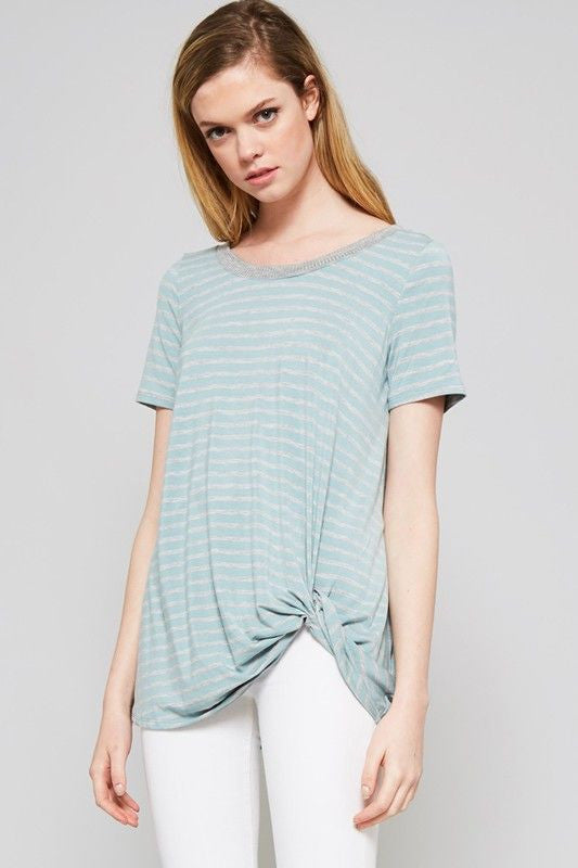American Made Women's Blue Striped Knotted Bamboo Tee