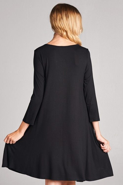 American Made Women's Black Swing Dress with Pockets Back