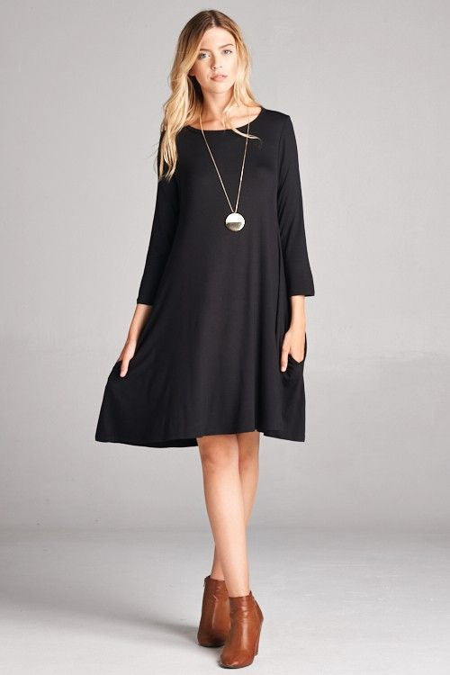 American Made Women's Black Swing Dress with Pockets Front