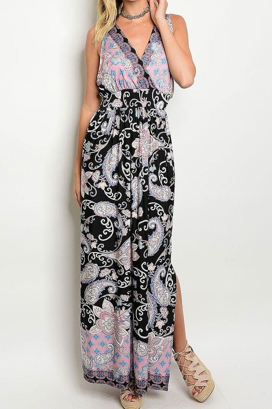 American Made Women's Boho Paisley Print Maxi Dress