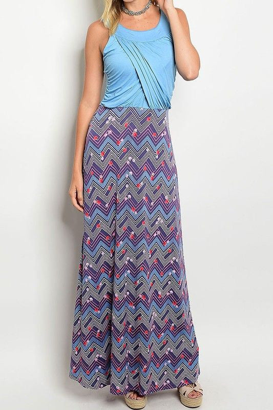 American Made Women's Draped Bodice Maxi Dress with Floral Skirt in Blue