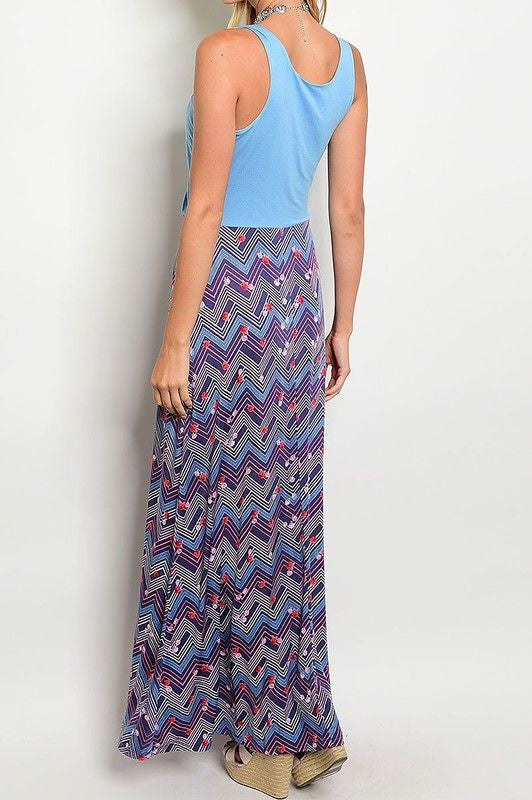 American Made Women's Draped Bodice Maxi Dress with Floral Skirt in Blue Back