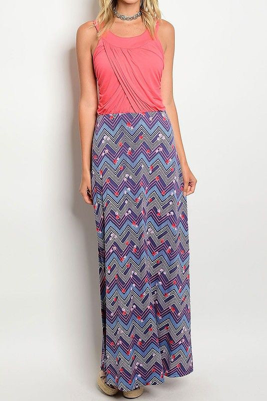 American Made Women's Draped Bodice Maxi Dress with Floral Skirt in Pink