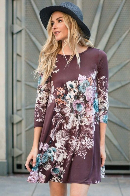 American Made Women's Floral Purple Swing Dress With Pockets Front