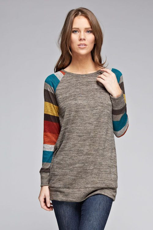American Made Women's Raglan Sweater with Striped Sleeves Front