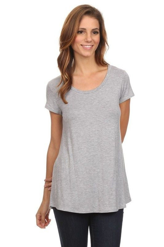 Made in USA Women's Basic Grey Tee Front View