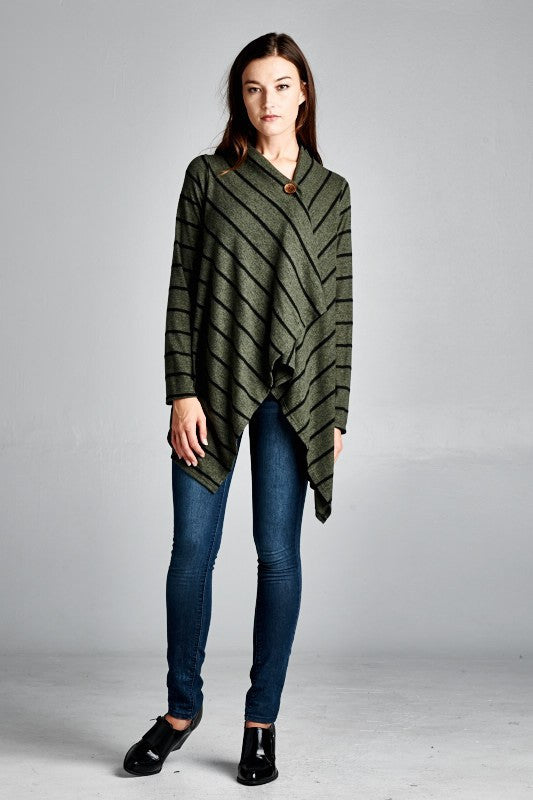 Made in USA One Button Striped Shawl Cardigan in Green