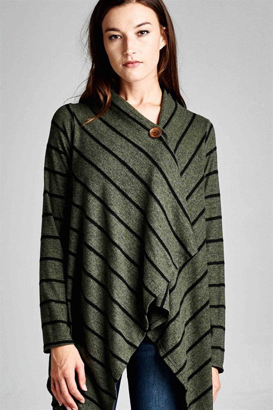 Made in USA One Button Striped Shawl Cardigan in Green Closeup