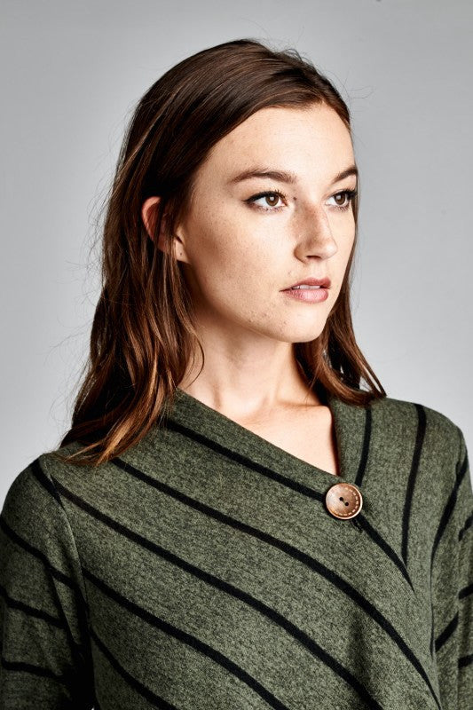 Made in USA One Button Striped Shawl Cardigan in Green Detail