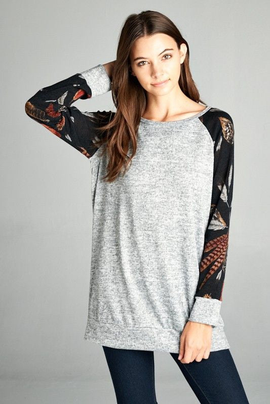 American Made Women's Tunic with Feather Print Sleeves Closeup