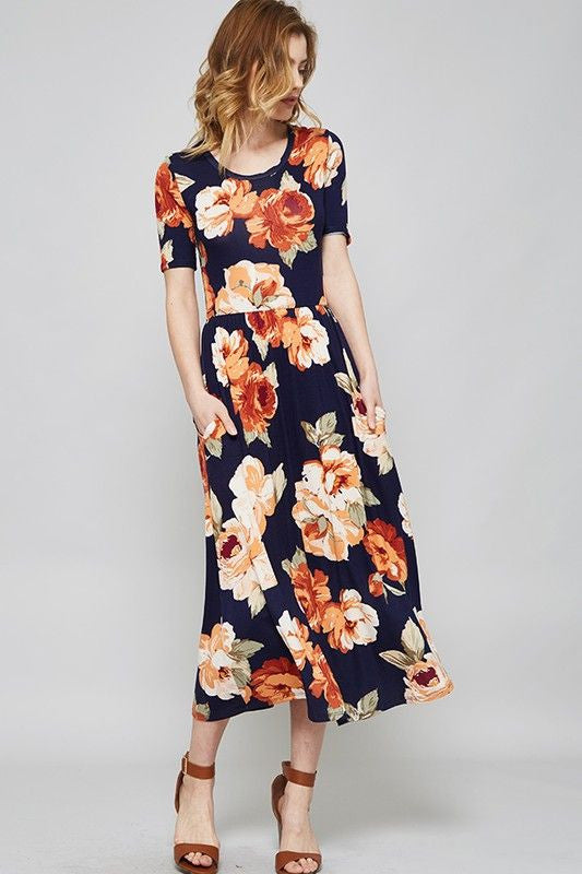American Made Women's Black Floral Midi Dress