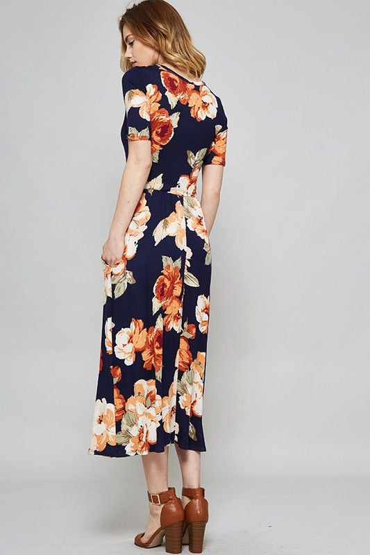 Bright Blooms Midi Dress