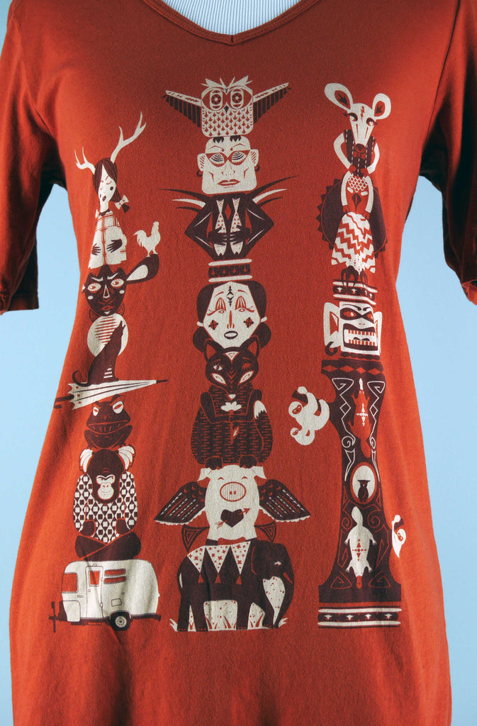 American Made Totem Pole T-Shirt from Blue Platypus Closeup
