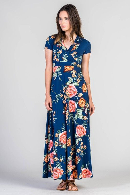 American Made Women's Blue Floral Faux Wrap Maxi Dress