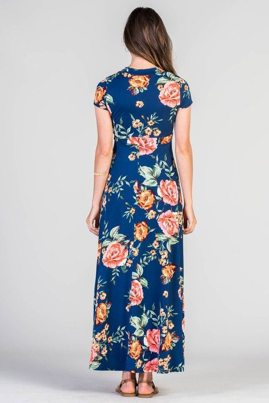American Made Women's Blue Floral Faux Wrap Maxi Dress Back