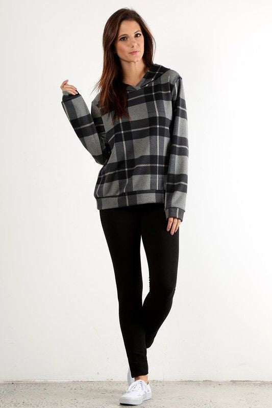 Made in the USA Women's Grey Buffalo Plaid Hoodie Front