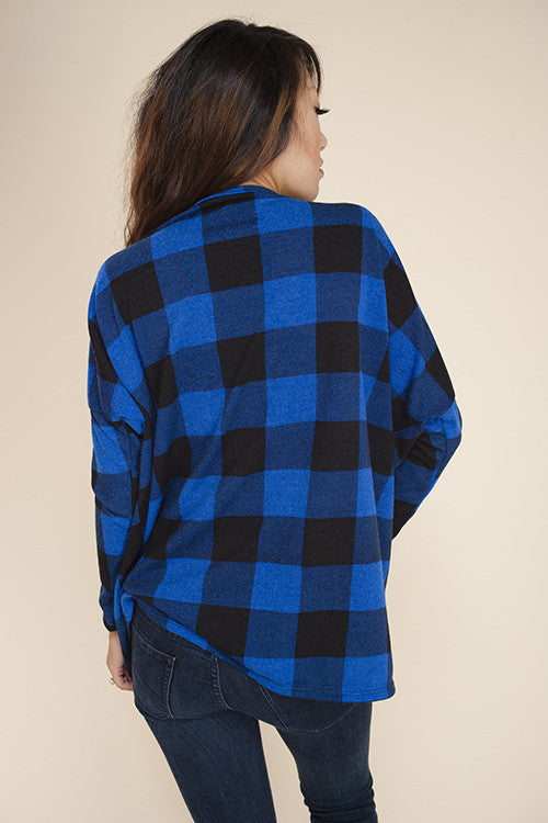 American Made Women's Blue Buffalo Plaid Print Cardigan Sweater Back