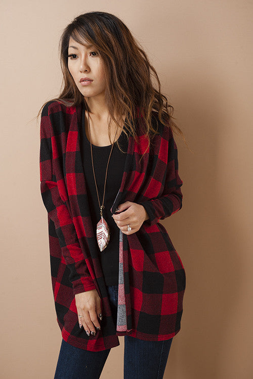 American Made Women's Red Buffalo Plaid Print Cardigan Sweater Front