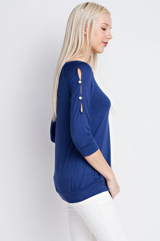 American Made Women's Navy Slit Sleeve Top Side