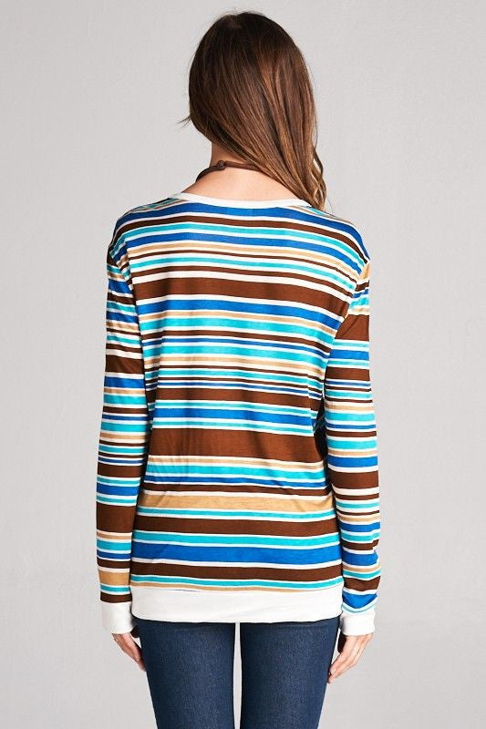 American Made Women's Retro Striped Top in Blue Back