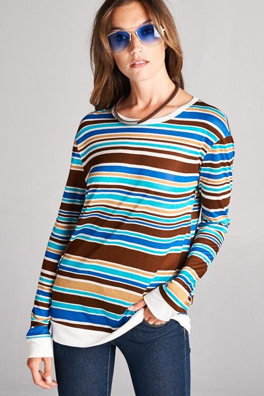American Made Women's Retro Striped Top in Blue Front