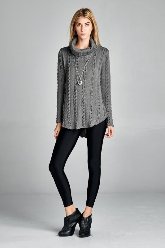 Made in the USA Grey Women's Cable Cowl Neck Sweater Front View