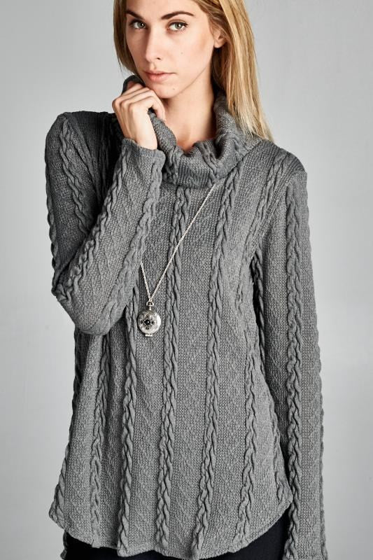 Made in the USA Grey Women's Cable Cowl Neck Sweater Closeup