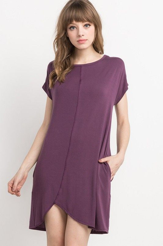 American Made Women's Purple Bamboo Shift Dress Front