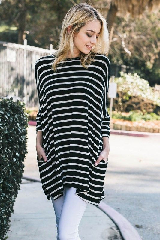 American Made Women's Black & White Striped Slouchy Top