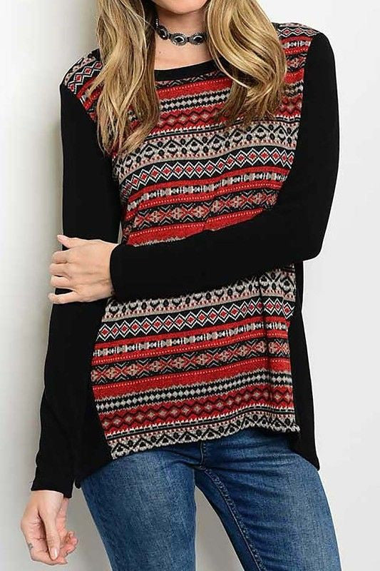American Made Red & Black Women's Fair Isle Print Top Front