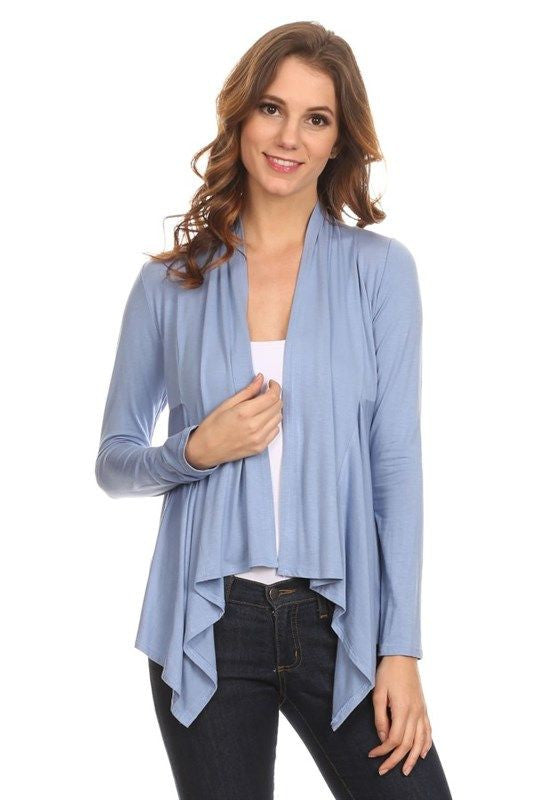 American Made Women's Open Draped Jersey Cardigan in Blue Front