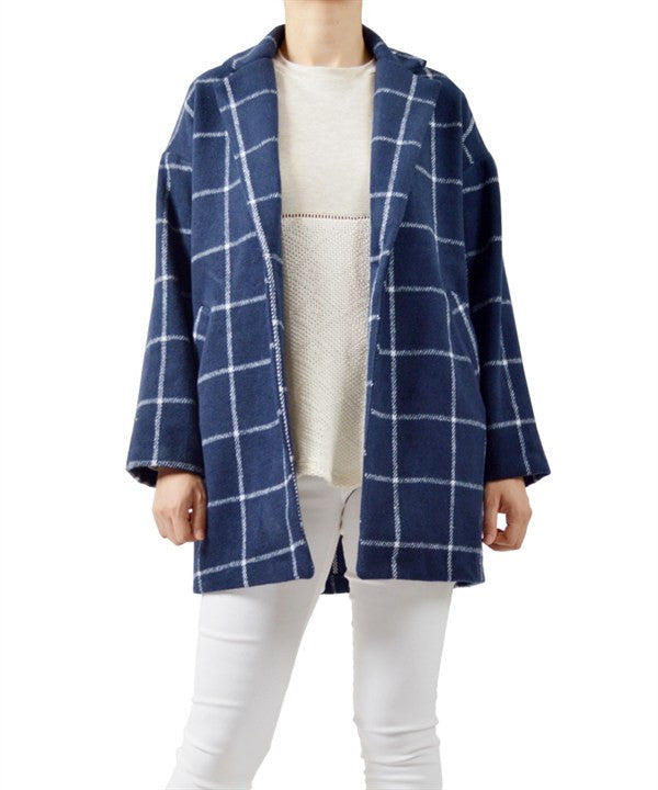 American Made Women's Blue Check Plaid Cocoon Coat Front