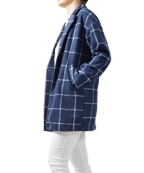 American Made Women's Blue Check Plaid Cocoon Coat Side