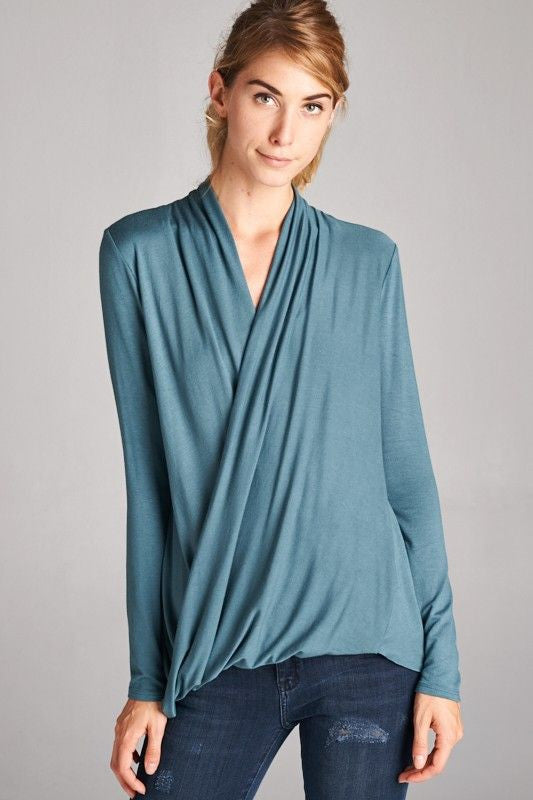 American Made Women's Cross Over Top in Blue Closeup
