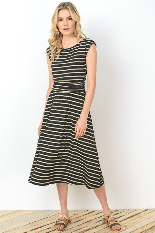 American Made Womens Black Striped Midi Dress